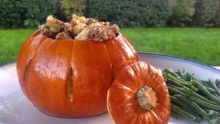 Roasted Stuffed Pumpkin, Savory Raisin-Nut Stuffing & Pumpkin Gravy