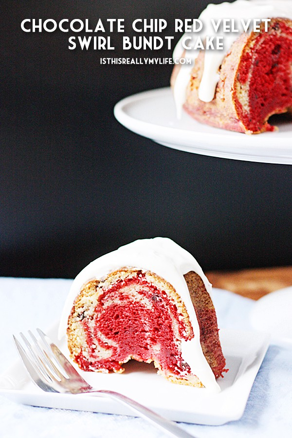 Chocolate Chip Red Velvet Swirl Bundt Cake