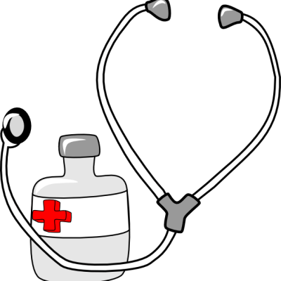 Stethoscope and Medicine bottle clip art