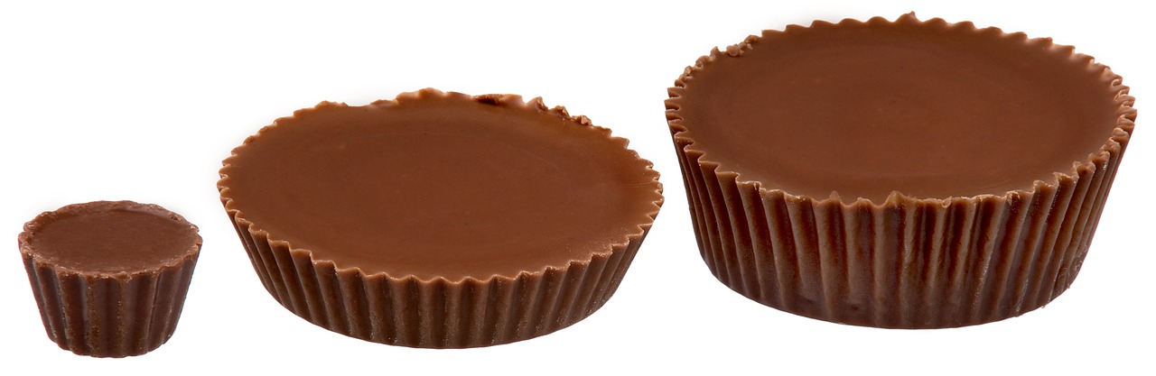 3 Reese's peanut butter cups arranged from smallest to largest