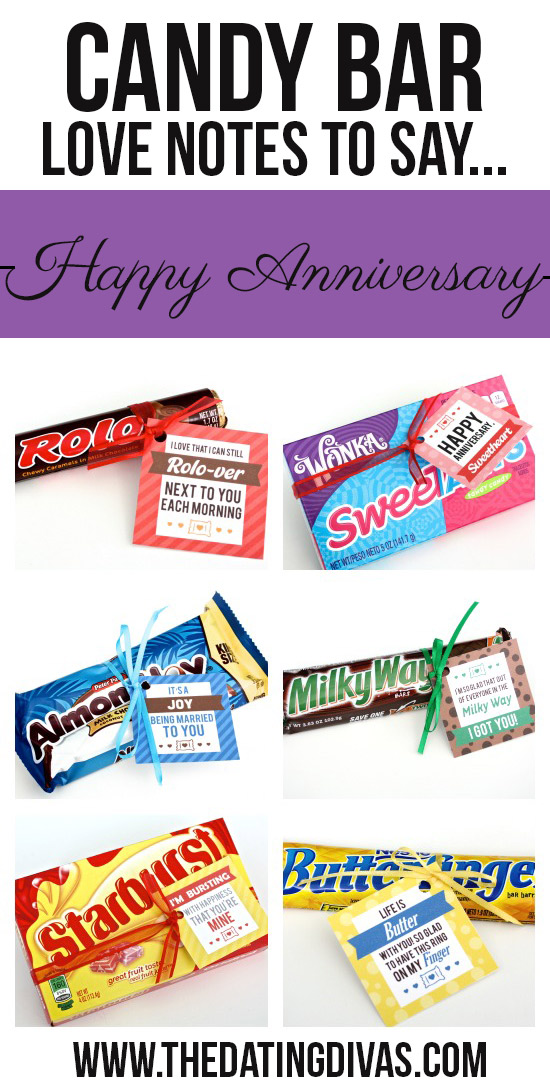 Candy Bar Love Notes To Say Happy Anniversary