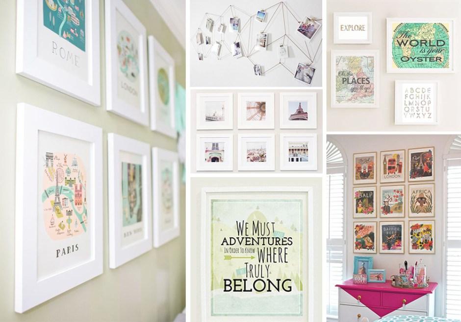 Idée de décoration voyage pour sa maison avec de jolis cadres