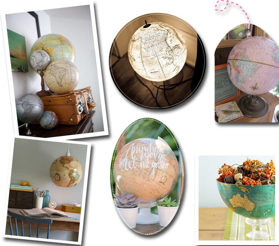 Idée de décoration voyage pour sa maison avec des globes