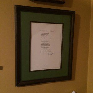 """A signed print of Mary Oliver's poem """"The First Time Percy Came Back"""""""