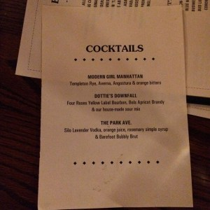 The book-themed cocktail menu