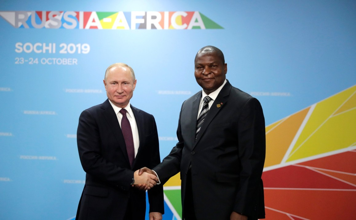 Vladimir Putin and C.A.R. President Faustin Touadera during the Sochi 2019 summit.
