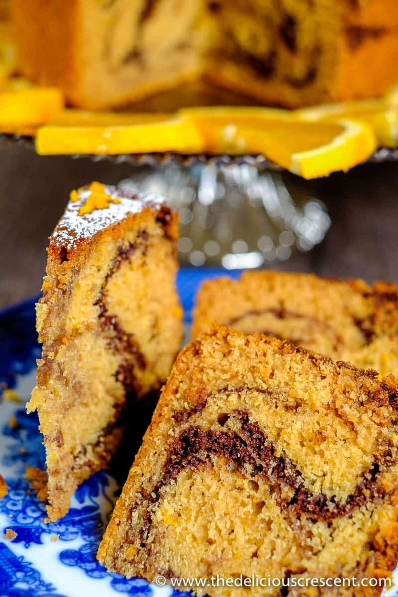 "Tahini Orange Chocolate Marble Cake – a moist scrumptious cake with a buttery tender crumb, but with ""no"" butter and only a fraction of saturated fat! If you are in the mood to experiment with some heart healthy deliciousness with a buttery feel, explore this unconventional cake and get ready to be delighted!"