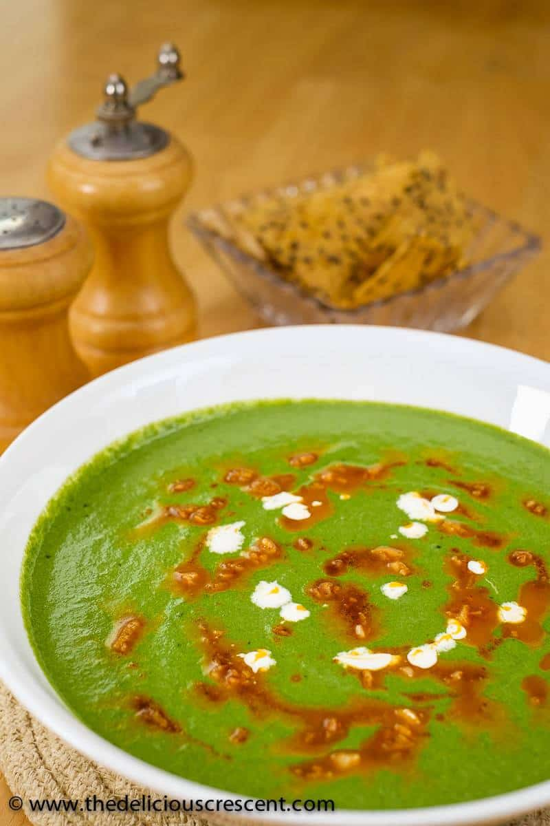 Easy and aromatic mustard greens and spinach soup inspired by the famous Indian Sarson Ka Saag. So delicious, nutritious, low carb, gluten free and vegetarian.