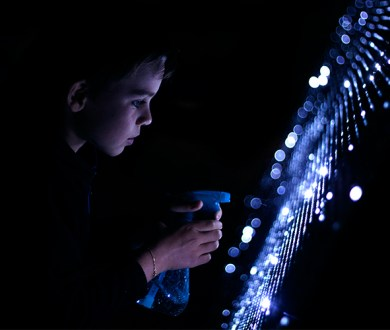 Waterlight Graffiti is the art installation inviting you to create 'lit' masterpieces