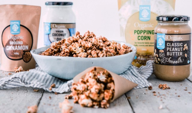 Upgrade movie night with this delicious peanut butter cinnamon caramel popcorn