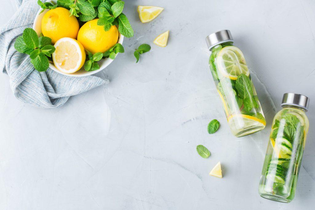 Fresh cool lemon cucumber mint infused water detox drink