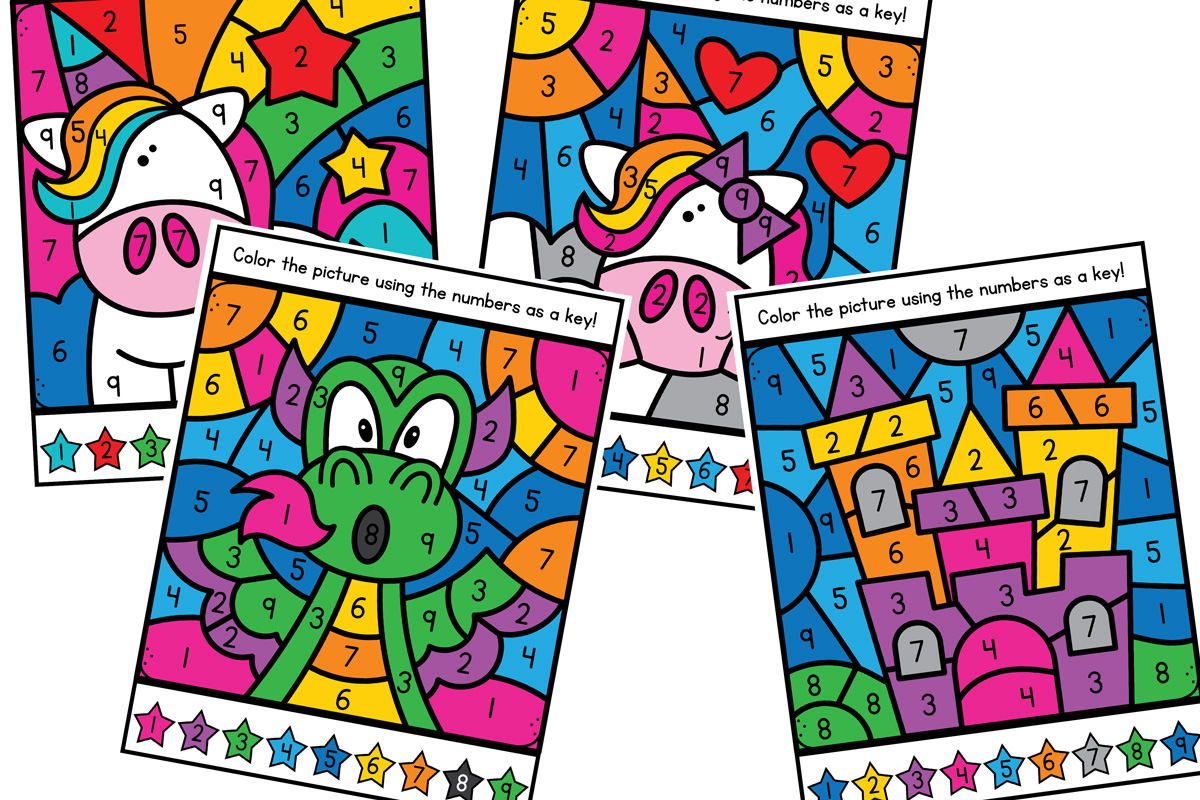 Magical Unicorn Color By Number Printable Worksheets