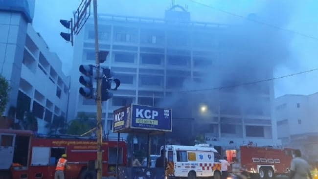 fire broke out in a hotel in Vijayawada in Andhra Pradesh.