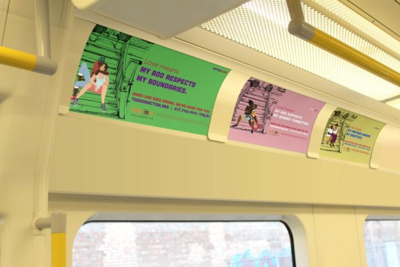 Images from a public awareness campaign about domestic violence that I was the art director and designer for. The campaign will be on public transportation in Boston between September and November 2015.