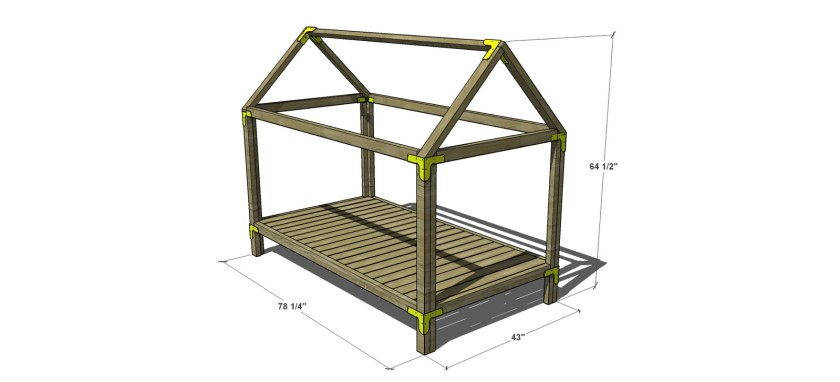 Free diy plans to build a twin sized house bed and playhouse for House frame floor bed plans