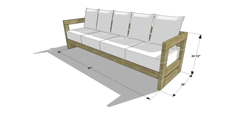 Free diy furniture plans how to build an aegean outdoor for Outdoor sofa plans