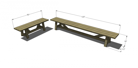 You Can Build This! Easy DIY Plans from The Design Confidential Free DIY Furniture Plans // How to Build An Outdoor Provence Beam Dining Benches via @thedesconf