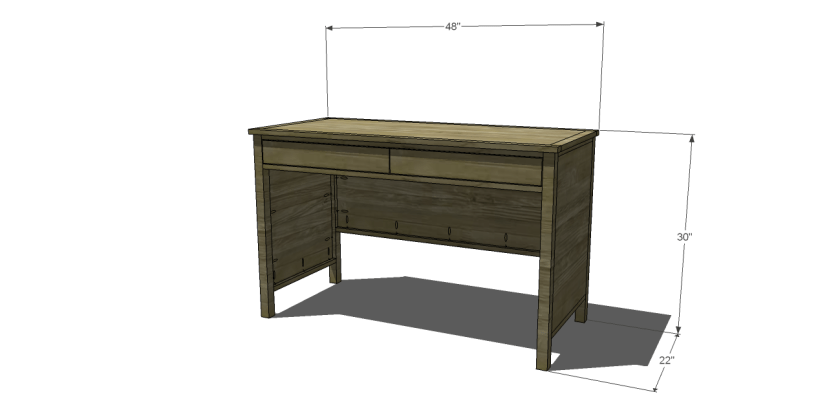 Dimensions for Free DIY Furniture Plans // How to Build a Hughes Desk