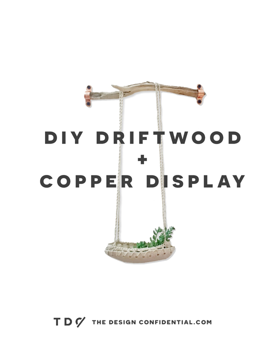 DIY Driftwood and Copper Display Shelf Organizer Wall Hanger