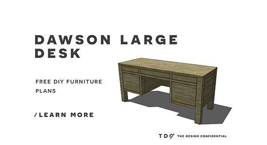 Free DIY Furniture Plans // How to Build a Dawson Large Desk