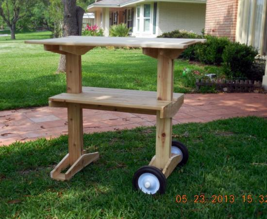 table, rolling table, BBQ, wheels