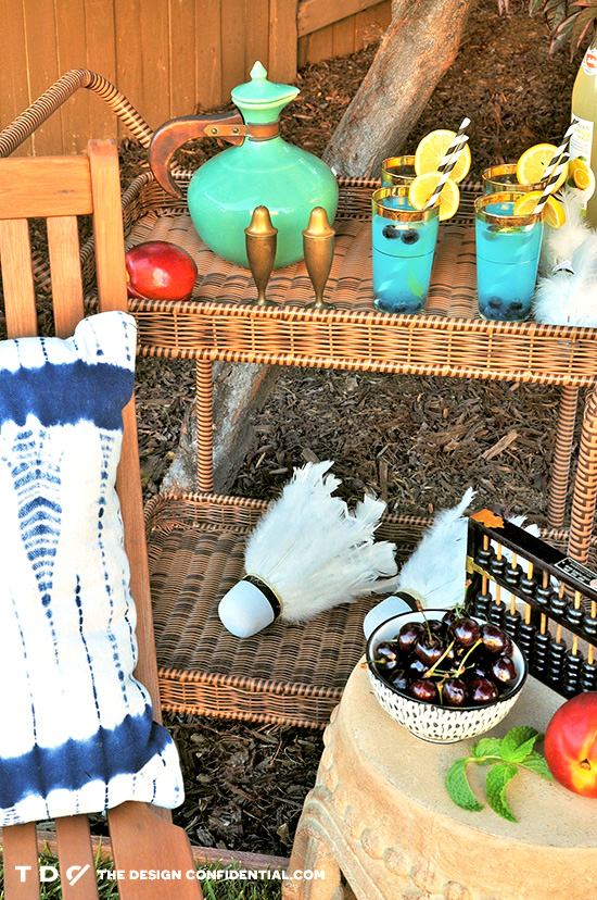 Bar Cart with Refreshments for Outdoor Sitting Area for the Home Depot Style Challenge Outdoor Games Edition