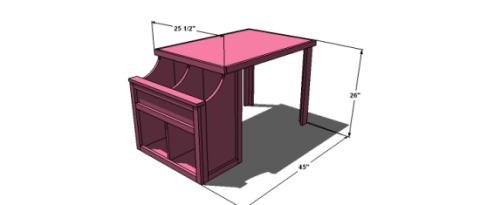 Dimensions for Free Woodworking Plans to Build an Ann Marie Toddler Storage Cubby Desk