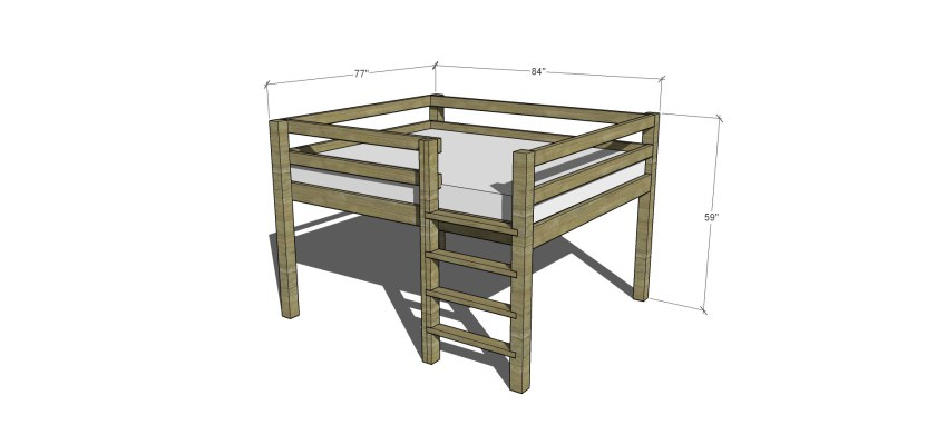 Dimensions for The Design Confidential Free DIY Furniture Plans // How to Build a Queen Sized Low Loft Bunk Bed