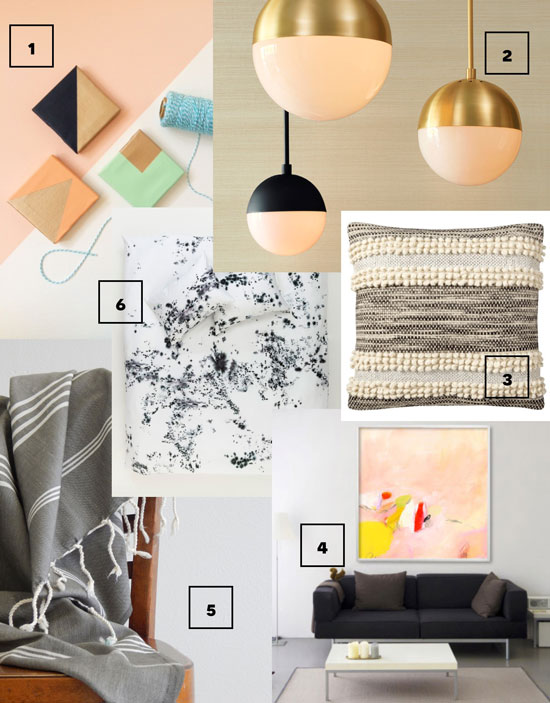 Design Confidential Roundup of Home Decor for It's Friday I'm In Love Footloose Fancy Fringe Pendant Lights Color Block Magnets Splatter Bedding Moroccan Pillow Peach Abstract Oversized Art Gray Turkish Towel