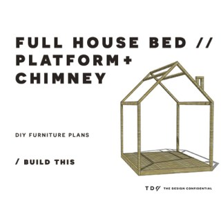 You Can Build This! Easy DIY Furniture Plans from The Design Confidential with Complete Instructions on How to Build a Full Sized House Bed with Chimney via @thedesconf