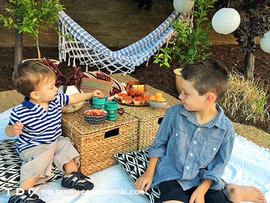 Kids Enjoying Outdoor Picnic in Outdoor Oasis for the Home Depot Style Challenge Outdoor Games Edition