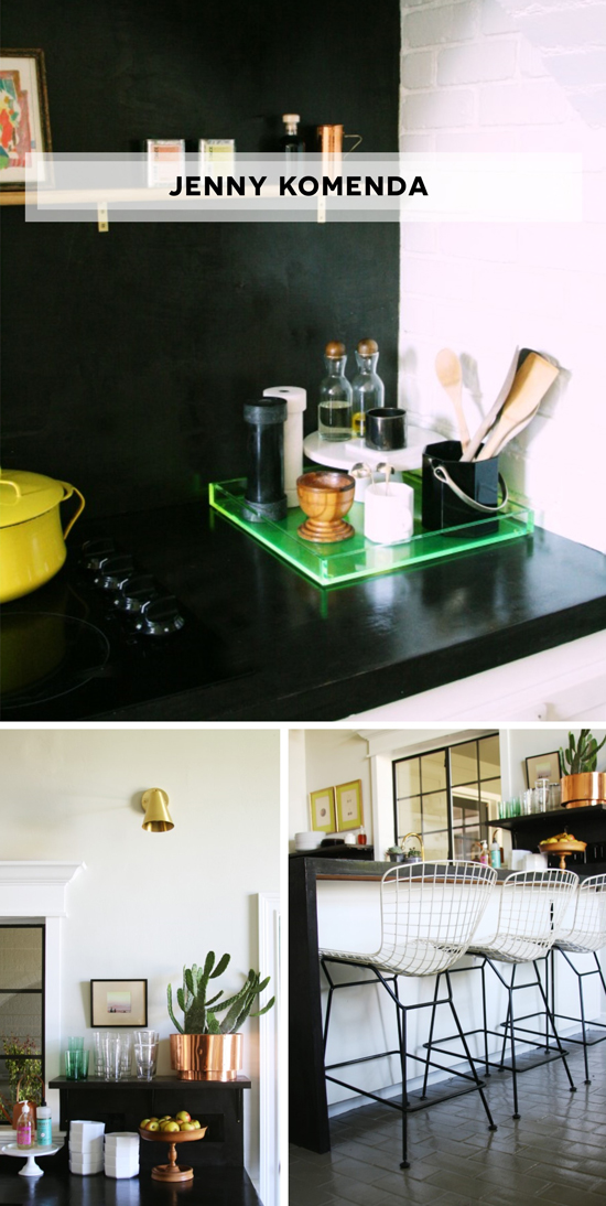 Jenny Komenda of The Little Green Notebooks Kitchen Featured on The Design Confidential Black Concrete White Cabinets Neon Tray Copper Bertoia Chairs