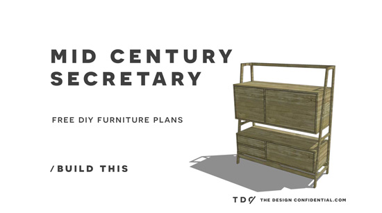 You Can Build This! Easy DIY Furniture Plans from The Design Confidential with Complete Instructions on How to Build a Mid Century Secretary via @thedesconf