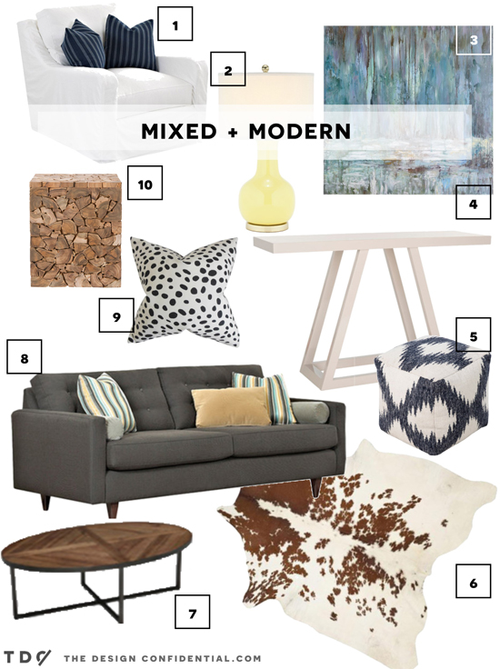Mixed and Modern Mood Board from A Few of My Favorite Things from The Design Confidential Curator Collection on Joss and Main