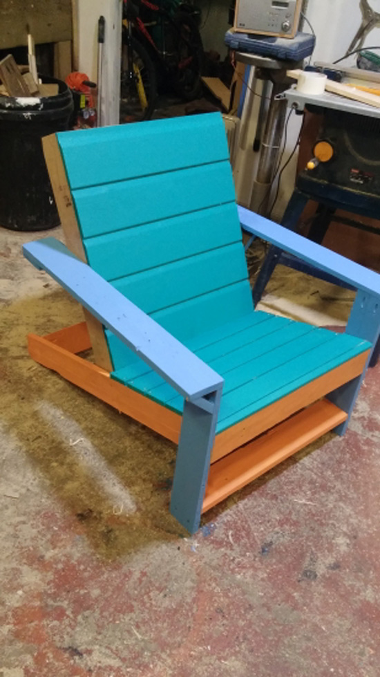 The Design Confidential Builders Showcase Outdoor Modern Adirondack Chair + Ottoman