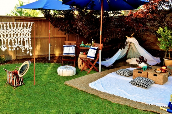Macrame Badminton Net and Outdoor Living Space for the Home Depot Style Challenge Outdoor Games Edition