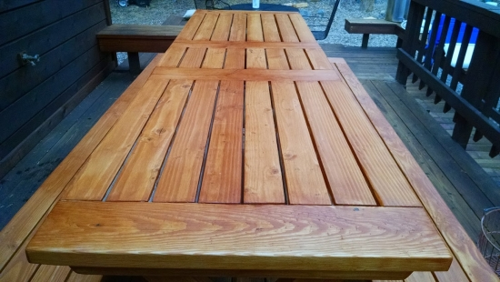 Close Up of Table Top for The Design Confidential Reader Showcase // Tahoe-Dude's Chesapeake Picnic Pable and Benches