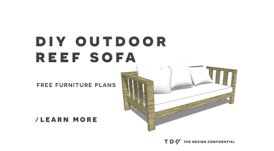 Free DIY Furniture Plans // How to Build an Outdoor Reef Sofa with Modifications for Cushions from Target