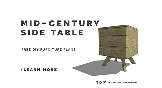 You Can Build This! Easy DIY Furniture Plans from The Design Confidential with Complete Instructions on How to Build a Mid Century Side Table via @thedesconf