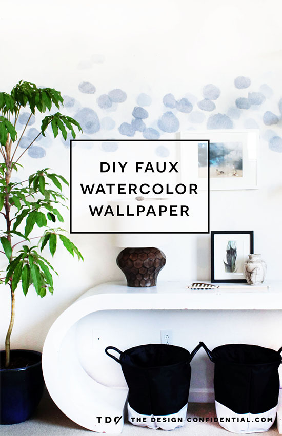The Design Confidential DIY Faux Watercolor Wallpaper Wall Treatment with Paint via @thedesconf
