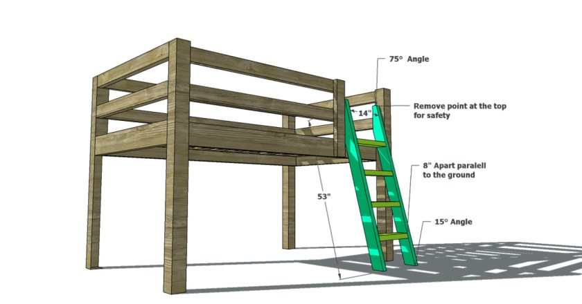 The Design Confidential Free DIY Furniture Plans to Build a Twin Sized Low Loft Bunk