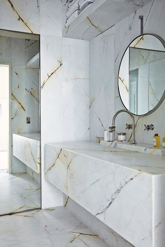 The Design Confidential Bathe Well Rounded Mirrors in the Bath with Marble Vintage Floating Vanity
