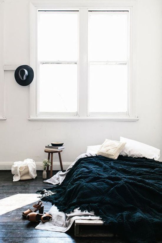 Black and White High contrast Minimal Bedroom with Hat for The Design Confidential Currently Crushing The Unmade Bed