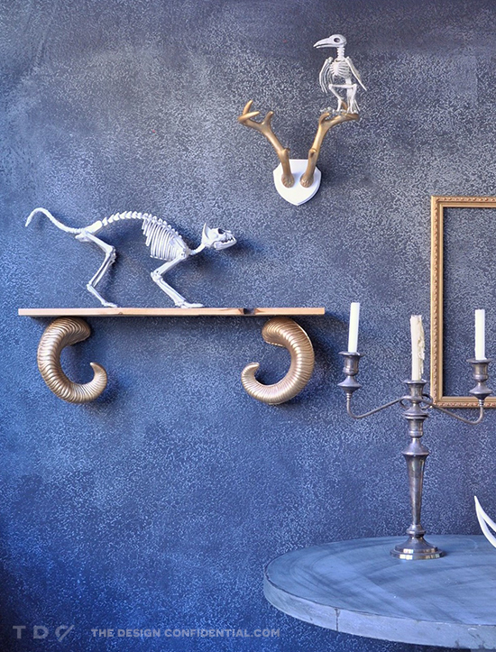 Spooky Display for The Design Confidential DIY Ram's Horn Shelf and Skeleton Taxidermy Display // Easy Halloween Decor Project