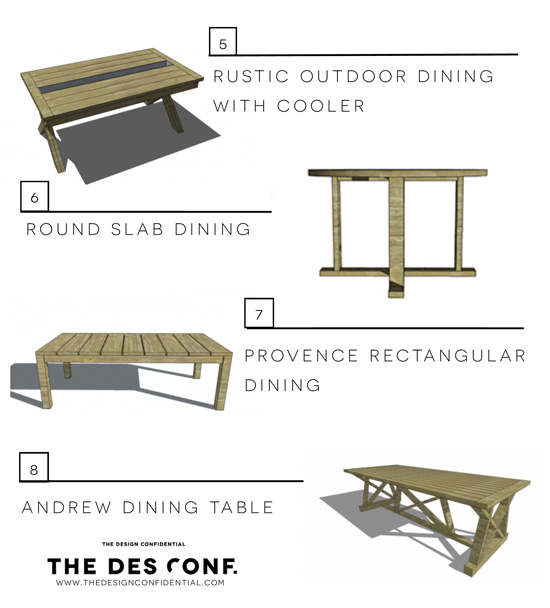 The Design Confidential's Entertaining In Style Top 8 Most Popular DIY Outdoor Dining Tables