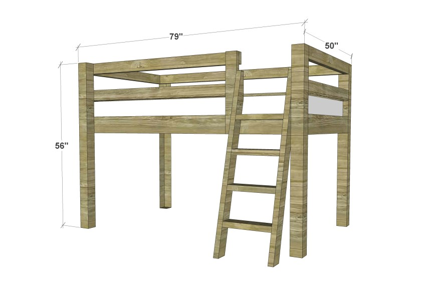 Free Woodworking Plans to Build a Twin Low Loft Bunk Bed ...
