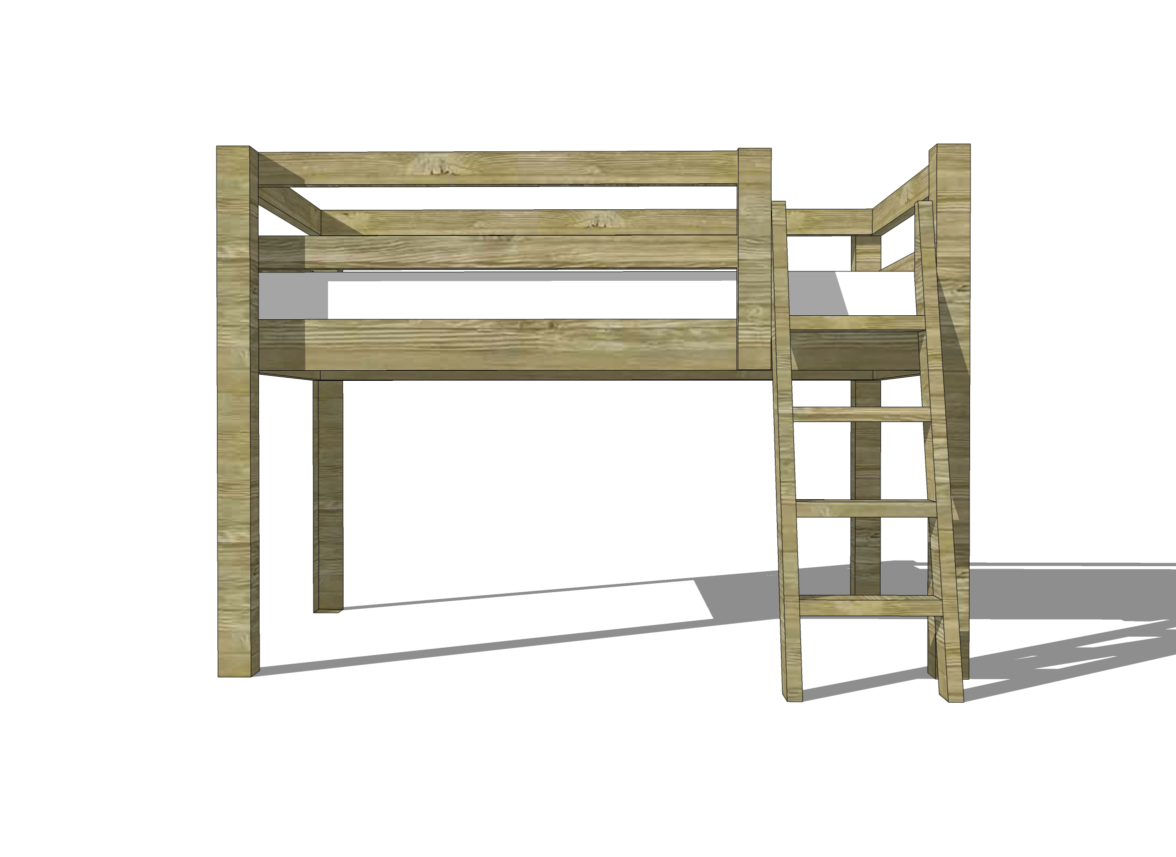 Free Woodworking Plans To Build A Twin Low Loft Bunk Bed The