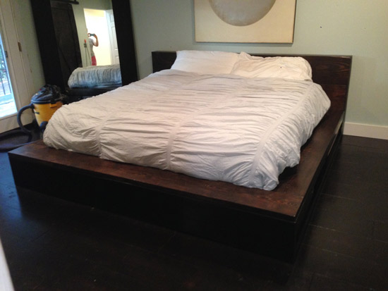 Builders Showcase Vintage Fir Platform Bed With Storage The Design Confidential