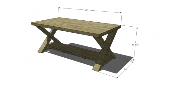 Free DIY Furniture Plans to Build an X Coffee Table - The ... on Coffee Table Plans  id=37564
