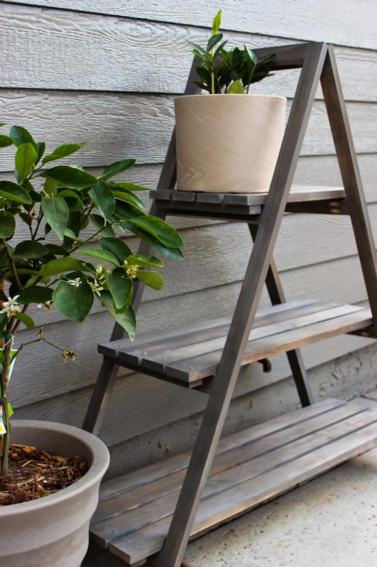 Finished Plant Stand for Real Reader Build at The Design Confidential Builders Showcase // Chic Little House A Frame Plant Stand